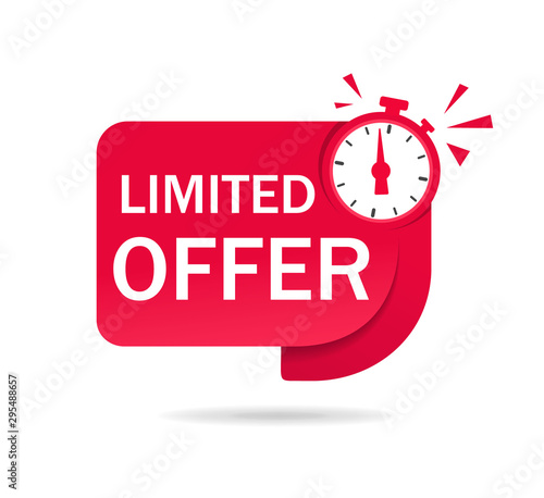 Cuadros en Lienzo Red limited offer tag with clock for promotion, banner, price