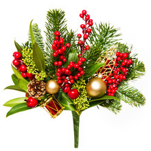 Christmas Bouquet Isolated Over White Background, Xmas Red Berries And Green Leaves