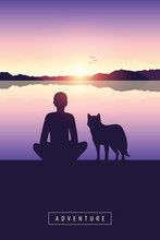 Man And Dog By The Lake With Mountain View And Sunset Adventure Design Vector Illustration EPS10