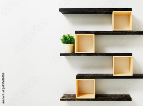Fotomural shelf on white wall .interior background.