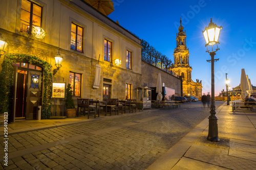 Montage in der Fensternische Honig Beautiful architecture of the old town in Dresden at dusk, Saxony. Germany