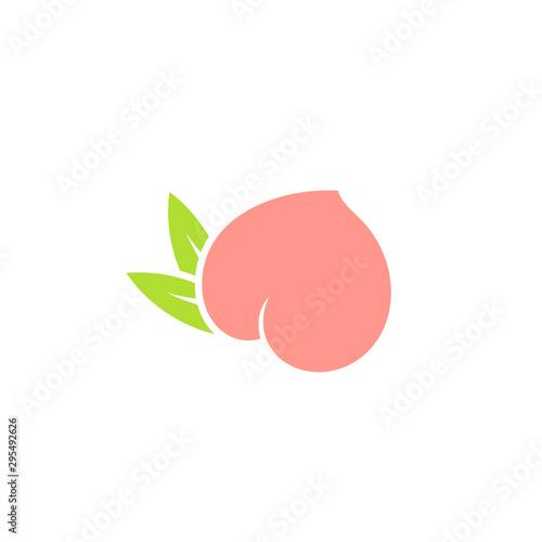 Fresh peach. Logo. Japanese white peach with leaves on white background. Sweet fruit  - 295492626