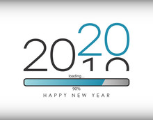 2020 New Year Illustration With Loading Bar And Percent Load. Waiting For Loading Of New Year And Merry Christmas. Vector.