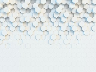Panel Szklany Do biura Hexagonal abstract 3d background, white wall with hexagonal pattern 3d rendering