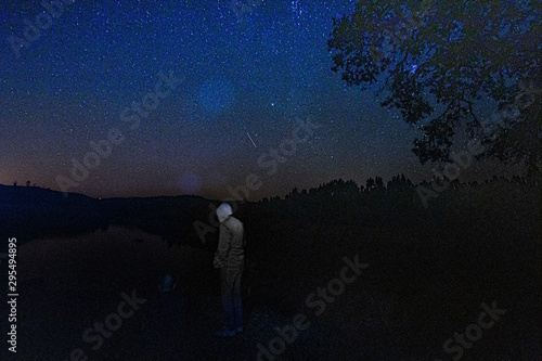 Cadres-photo bureau Noir Night shot with stars on a night sky background