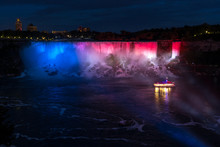 Night View Of Niagara Falls Fr...