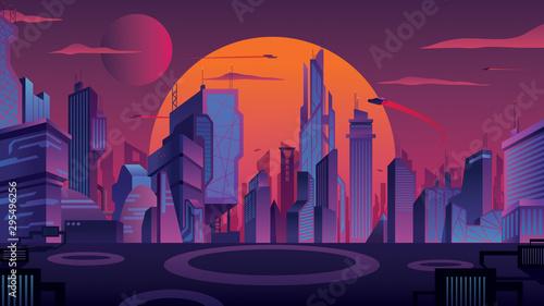 Futuristic City Landscape - 295496256