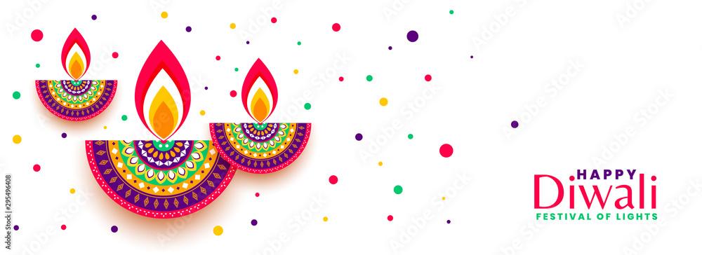 Fototapety, obrazy: happy diwali festival celebration colorful banner design