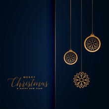 Premium Christmas Festival Greeting In Royal Blue And Gold Color
