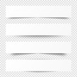 Empty white banners with shadow. Paper blurb banner. Web vector header. Interface with gray shade. Blank stickers set.