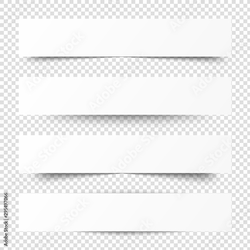 Obraz Empty white banners with shadow. Paper blurb banner. Web vector header. Interface with gray shade. Blank stickers set. - fototapety do salonu