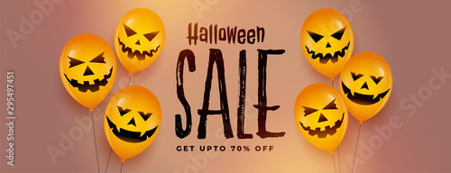 Fotografía  happy halloween festival sale banner with laughing scary balloons