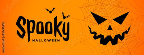 Spoed Fotobehang Halloween spooky halloween scary banner with ghost face
