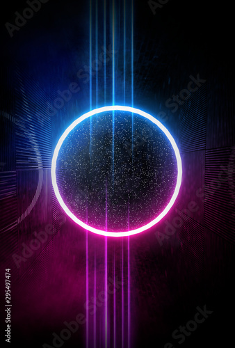 Abstract dark neon background. Neon geometric shapes, rays and lines.