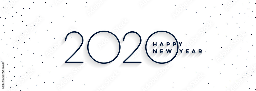 Fototapeta clean minimal 2020 happy new year white banner design
