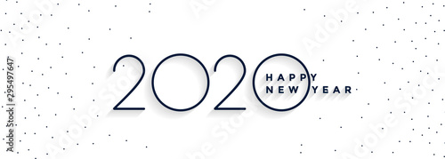 Photo clean minimal 2020 happy new year white banner design
