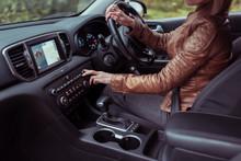 Woman Driving Car, Summer Autu...