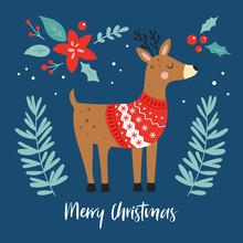 Christmas Holiday Cute Reindeer Character.