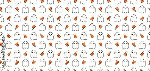 fototapeta na szkło Seamless repeat pattern with cute ghosts, candy corn, white, orange, black. Vector illustration. Line art. Design concept for Halloween background, packaging, wallpaper, wrapping paper.