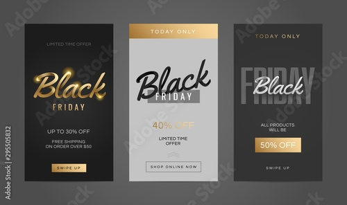 Fototapeta Black friday sale stories template set for social media. Screen backdrop for mobile app. Social media story mockup. obraz