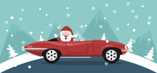 Christmas Card Design Of Santa Claus In A Classic Car In A Winter Landscape