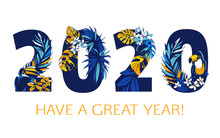 Happy New Year Tropical Patter...