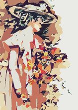 Edwardian Woman With Flower Bouquet, Abstract Vector Illustration