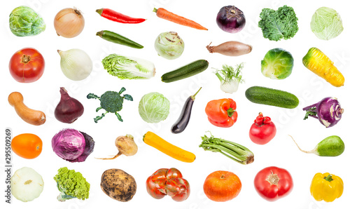 Obraz set of various fresh ripe vegetables isolated - fototapety do salonu