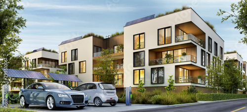Leinwand Poster  Modern residential buildings and electric cars