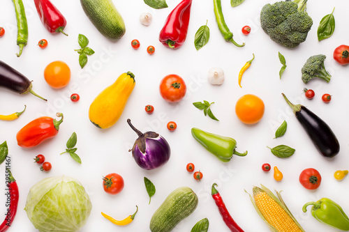 Vegetables background with paprika, tomatoes, eggplants and others - 295511467