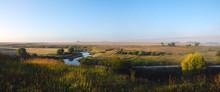 Hazy Summer Morning Landscape ...