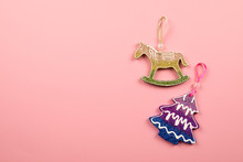 Christmas Toy Horse On A Pink Background