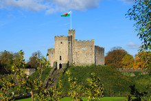 Cardiff Castle Exterior In The Center Of Cardiff In The Autumn Sunshine
