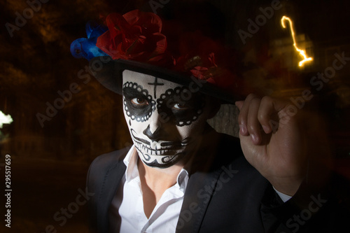 A man wearing skull make-up for Canvas Print