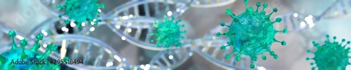 Fotografiet Viruses close up. Panorama of germs. 3d rendering.