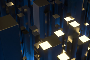 technical scene made up of repetitive columns, 3d rendering