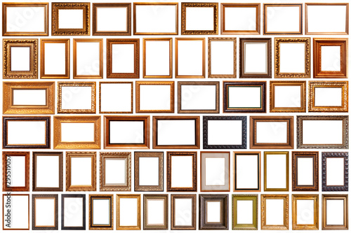 Fototapeta Collection of golden picture frames isolated on white background set obraz