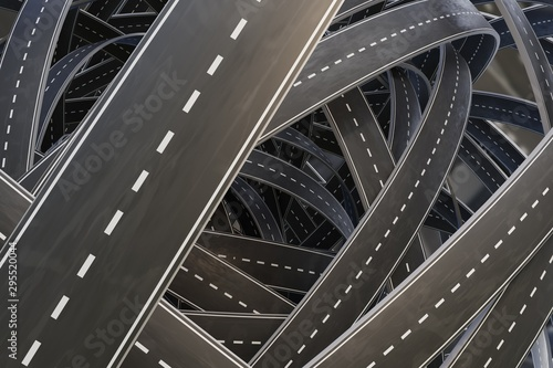 Multiple tangled chaotic roads. 3D rendered illustration. Canvas Print