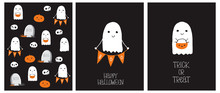 Cute Hand Drawn Halloween Cards And Pattern. Little White Ghost On A Black Background. Happy Halloween. Trick Or Treat. Sweet Little Pumpkins And White Funny Skulls. Gravestone With Boo Inscription.
