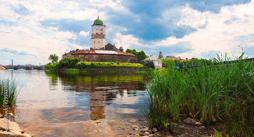 Vyborg castle in Russia on summer day Canvas Print