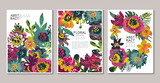 Fototapeta Kwiaty - Vector collection of trendy creative cards with hand painted flowers, leaves and different textures