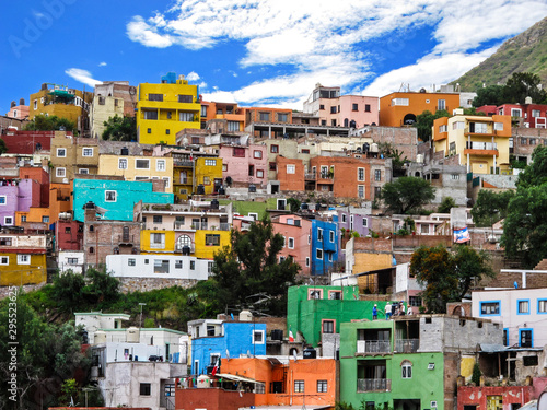 City landscape with colorful houses of Guanajuato