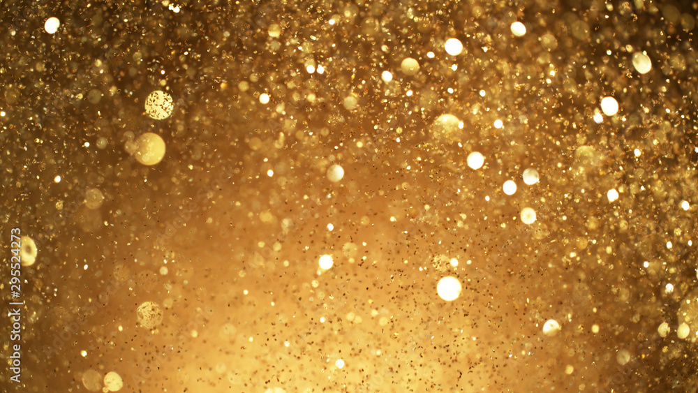 Fototapety, obrazy: Abstract golden glittering background with blur dots.