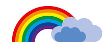 Vector Colorful Rainbow Symbol With Gray Clouds
