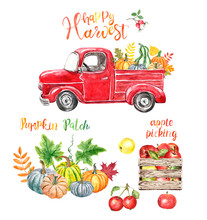 Watercolor Red Truck With Autumn Seasonal Veggies And Fruits, Isolated On White Background. Hand Painted Abstract Red Vintage Car, Pumpkins, Apples. Pumpkin Patch Illustration For Thanksgiving Day.
