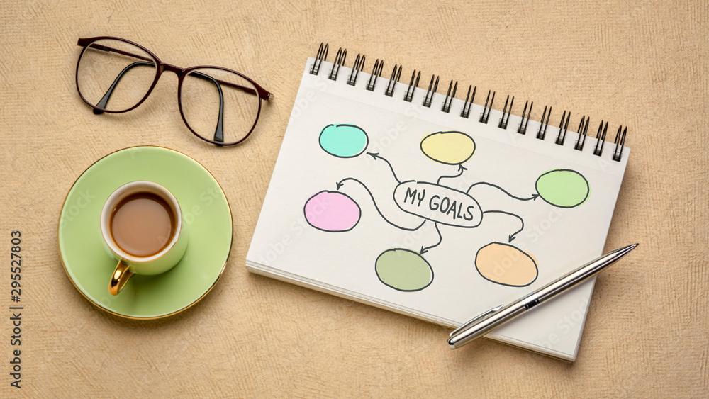 Fototapeta my goals diagram napkin doodle