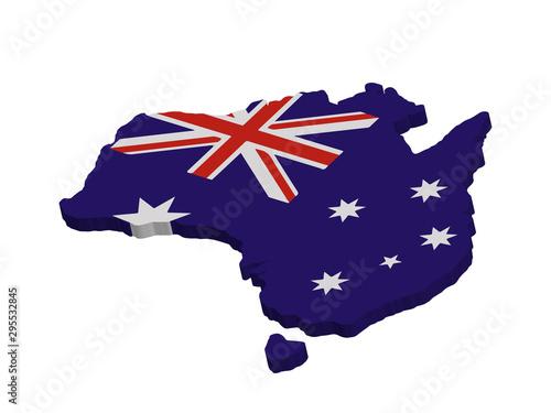 Photo 3D Australia flag map Vector illustration