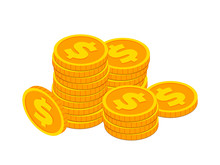 Isometric Gold Coin Stack Conc...