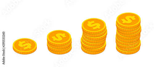 Fotomural Isometric gold coin stack like income graph