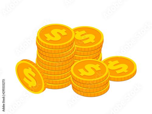 Fototapeta Isometric gold coin stack concept obraz
